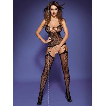 Czarne bodystocking F208