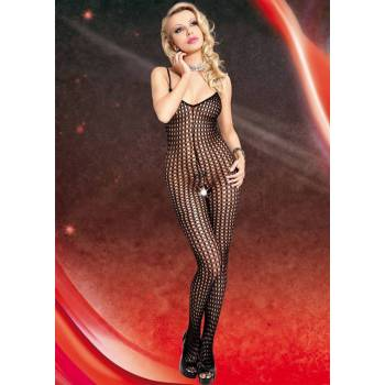 "<p><strong><a href=""http://allegro.pl/bielizna-i-odziez-erotyczna-bodystocking-63816"">Bodystocking</a> SoftLine Collection Catsuit</strong> na ramiączkach, z wycięciem w miejscu intymnym. Wykonany z siatki o ciekawym wzorze. Skład: 100% poliamid.</p>"