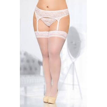 SoftLine Collection stockings 5541 white pończochy do paska