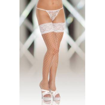 SoftLine Collection stockings 5520 white pończochy kabaretki
