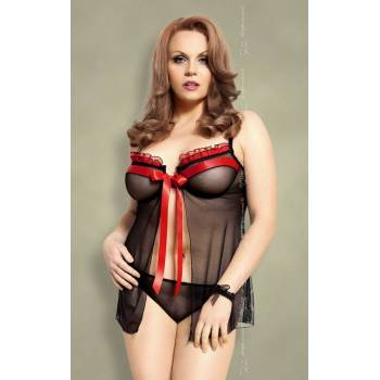 SoftLine Collection Nadine Plus Size black-red 1705 koszulka stringi i podwiązka