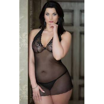 SoftLine Collection Marylin Plus Size black 1017 koszulka i stringi