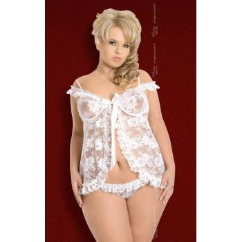 SoftLine Collection Erika Plus Size white 1478 koszulka i stringi