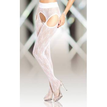SoftLine Collection Crotchless Tights 5505 white rajstopy open