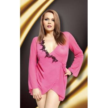 SoftLine Collection xBell Plus Size pink-black peniuar