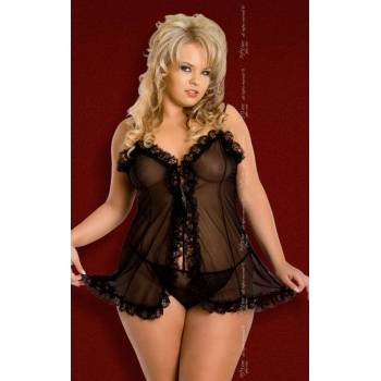 SoftLine Collection Kaya Plus Size black 1547 koszulka i stringi