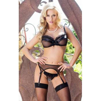 xLucia 1805 SoftLine Collection czarny biustonosz pas i stringi