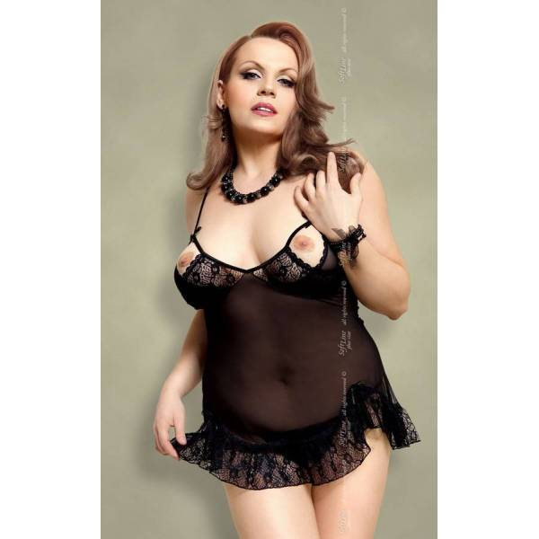 xSable - Plus Size - black 1718 koszulka i stringi